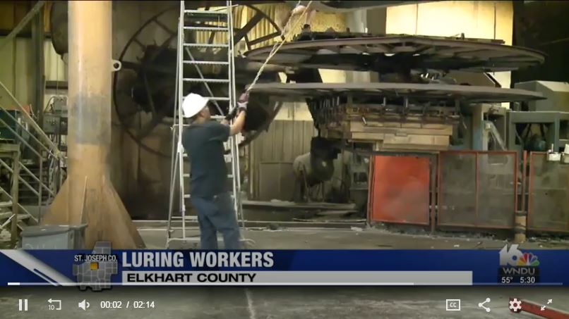 """Luring Workers"" story from WNDU featuring Elkhart Plastics"